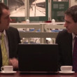 Two businessman drinking coffee — Stock Video