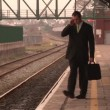 Man waiting at a train Station — Stock Video