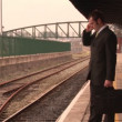Man waiting for train — Stock Video