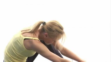 Young woman Stretching Muscles — Stock Video