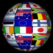 Stock Video: Globe With World Flags