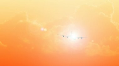 CGI of an Airplane Flying in the sky at Sunset — Stock Video