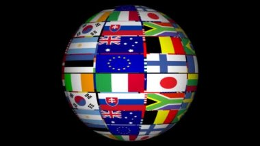 Globe With World Flags — Stock Video