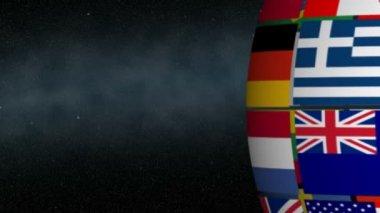 Spinning Flag Globe — Stock Video