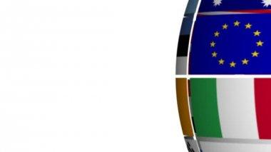 Flag Globe against White — Stock Video