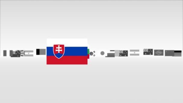 Banderas euro — Vídeo de stock