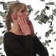 Woman catching Dollars - Stock Photo