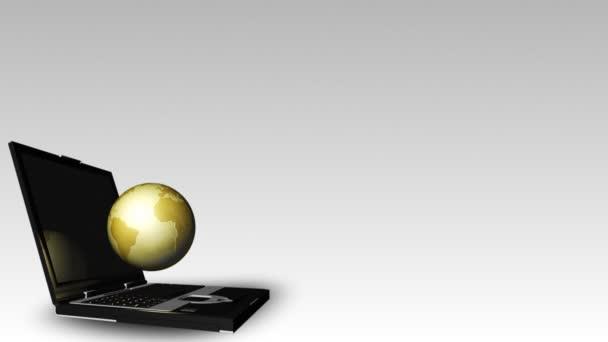 Ordinateur portable et globe — Vidéo