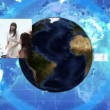 Montage of videos showing business with earth image - Foto Stock