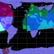 Diagrams appearing on a blue world map — Vídeo de stock