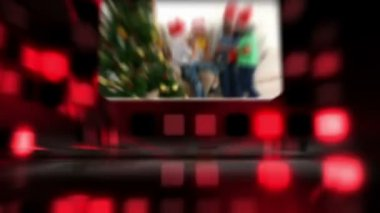 Montage about families celebrating Christmas against a red disco background