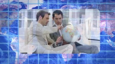 Montage of videos showing business with colleagues with Earth image courtesy — Stock Video