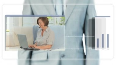 Businessman dragging videos about seniors — Stock Video