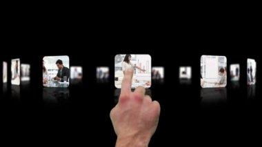 Hand choosing clips about business — Stock Video #15366287