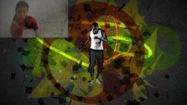 Man dansar medan klipp av boxning visas på vardera sidan om honom — Stockvideo