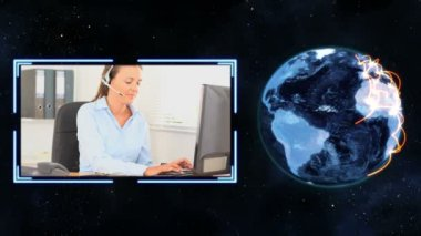 Earth turning next to a video of women making calls with Earth image courtesy — Stock Video