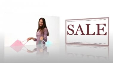 Montage showing Women with shopping bags next to a panel with the word sale printed on it — Stock Video