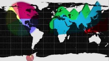 диаграммы, появляясь на карте белый мир — Стоковое видео