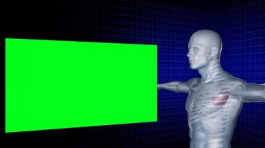 Digital man rotates with his arms outstretched while green screens appear around him — Vídeo Stock
