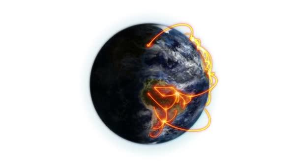 Les connexions orange sur la terre, zoom arrière avec déplacement des nuages et shadow avec terre image courtoisie — Vidéo