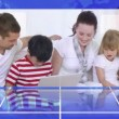 Family videos spinning in circle - Stock Photo