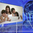 Family videos next to statistics and turning globe - Stock Photo