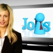 Stock Video: Woman on front of Jobs Sign