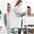 Royalty-Free Stock Vector Image: Montage footage showing in the workplace