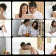 Affectionate couples having fun at home — Stock Video
