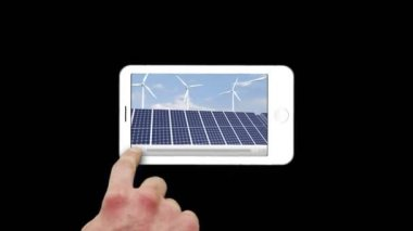 Smartphone showing windmills — Stock Video