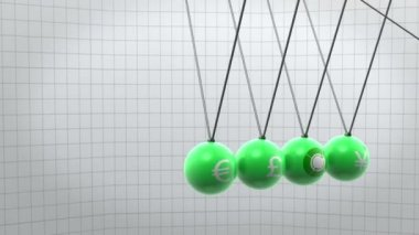 Green newton pendulum with different currencies on it — Stock Video