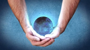 Hands holding a globe activating videos — Stock Video