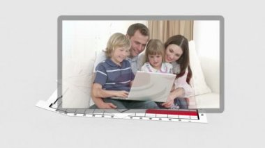 Family videos appearing with diagram behind them — Stock Video
