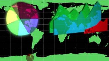 Diagramas, aparecendo em um mapa do mundo — Vídeo Stock