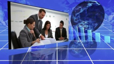 Business montage next to animated graphs and a globe against a blue grid background