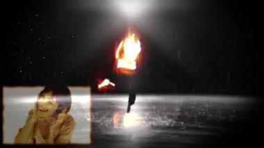 Ein undeutliches 3d bild von einem mann tanzt während einen frau und mann-tanz und musik hören — Stockvideo