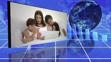Family videos next to statistics and turning globe against a blue background