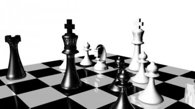 Animation of chess set in motion. Game over — Stock Video