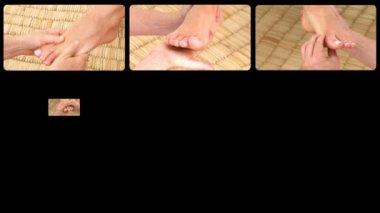 Animation presenting de-emphasizing foot massages — Stock Video
