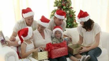 Family Christmas at home — Stock Video