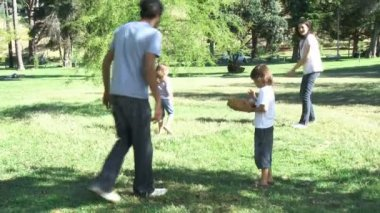 Parents and children playing baseball in a park — Stock Video