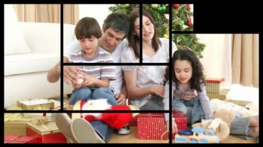 Animation presenting two families celebrating Christmas — Stock Video