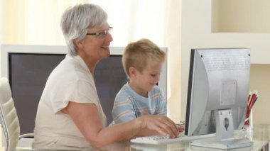 Grandmother minding her Grandchild — Stock Video