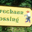 Leprechaun crossing sign - Stock Photo