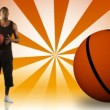 Animation of an Afro-American boy playing basketball - Stock Photo