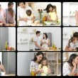 Montage of happy families in the kitchen — Stok video #15388153