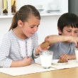 Brother and sister eating biscuits with milk - Stock Photo
