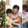 Family having fun at Christmas - Stock Photo