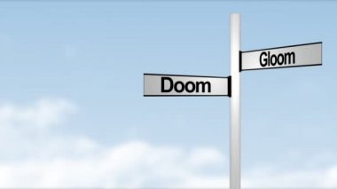 Doom and Gloom Signpost — Stock Video