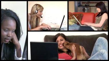 Bir dizüstü bilgisayar kullanarak ışık saçan kadınlara gösterilen hisse senedi animasyon — Stok video